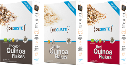 Organic and conventional quinoa flakes