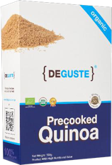 Organic and conventional recooked quinoa